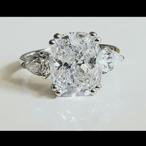 Jewelry - 3ct Radiant Diamond Ring Trilogy Trillion Accents
